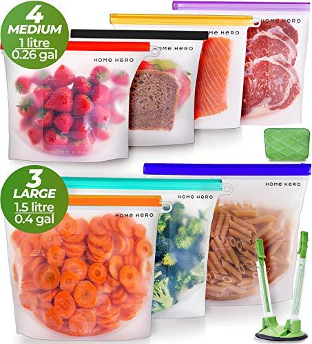 Cheap Reusable Bags (Reusable Silicone Food Bag (7 Pack) Reusable Silicone Food Storage Bag - Silicone Storage Bags Reusable Silicone Bags Reusable Storage - Reusable Silicone Food Storage Bags Reusable Silicone Food)