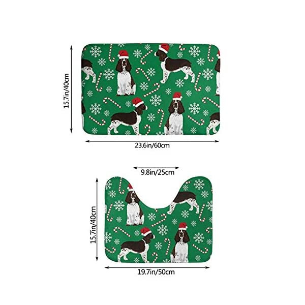 Tina6qfhgx English Springer Spaniel Santa Christmas Bathroom Contour Rugs Combo Set of Soft Shaggy Non Slip Bath Shower Mat and U-Shaped Toilet Floor Rug 2
