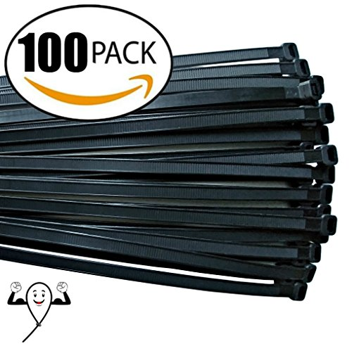 18-inch Cable Zip Ties. Thick Premium Heavy Duty. 100 Piece Value Pack of Black Nylon Wire Zip Ties by Strong Ties. 175 Pounds Tensile Strength, Indoor Outdoor UV Resistant. (Christmas Line Out Tree)