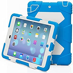 ipad mini Case,Aceguarder Apple Ipad Mini 1&2&3 Case Waterproof Rainproof Shockproof Kids Proof Case for Ipad Mini 2 Mini 1&2(gifts Outdoor Carabiner + Whistle + Handwritten Touch Pen) (LIGHT BLUE-WHITE)