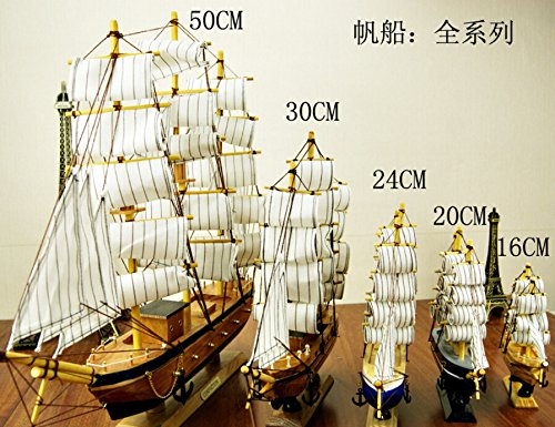 4 Sizes Wooden Sailing Boat Wood Clipper Ship Model Collectible Sailboat Crafts TA11189 ( Size : 20cm )