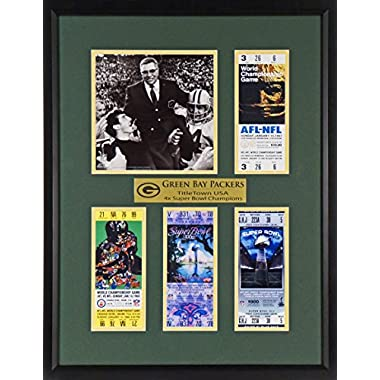 "Green Bay Packers ""TitleTown USA"" Super Bowl Tickets Display (Featuring Vince Lombardi) Framed"