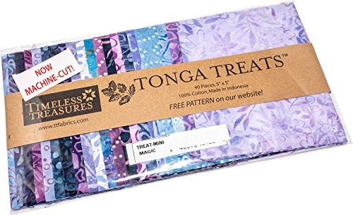 Tonga Treats Batiks Magic Minis 40 5-inch Squares Charm Pack Timeless Treasures Fabrics ()