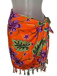 TROPICAL ORANGE HAWAIIAN PURPLE PLUMERIA FLOWERS GIRLS / TEENS SHORT SARONG