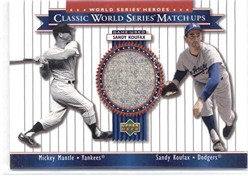 2002 Upper Deck World Series Heroes Classic Match-Ups Memorabilia #MU63 Sandy Koufax JSY/Mickey Mantle - Los Angeles Dodgers/New York Yankees MLB Baseball Card (Memorabilia/Game Used) NM-MT ()