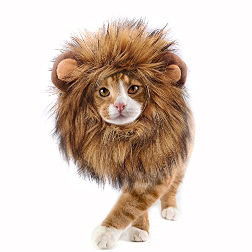 Onmygogo Lion Mane Wig for Cats, Funny Pet Cat Costumes for Halloween Christmas, Furry Pet Clothing Accessories (Size S, Melange Brown)