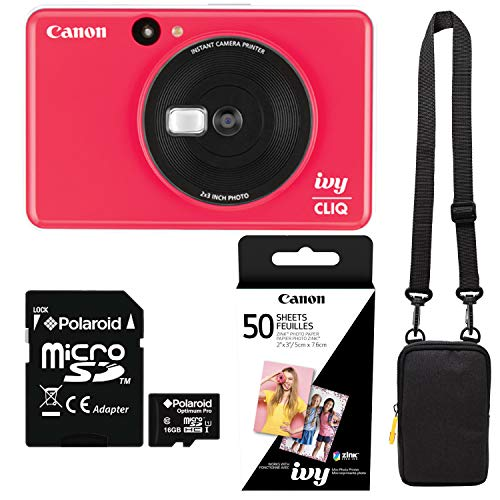 Canon Ivy Cliq Lady Bug Red Instant Camera Printer Bundle with Zink Paper (50 Sheets), Camera Bag and 16GB MicroSD Memory Card