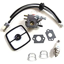 Carburetor & Tune Up Kit Air Filter Primer Bulb Spark Plug for for Zama C1U-K51 Echo HC-1500 HC-1600 HC-1800 HC-2000 HC-2400 HC-2410 Zama C1U-K45