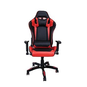 HG Silla Giratoria De Oficina Gaming Chair Apoyabrazos Acolchados Premium Comfort Silla Racing Capacidad De Carga 200 Kg Altura Ajustable Negro / Rojo: ...