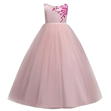Big Girls Tulle Lace Dress Wedding Bridesmaid Communion Evening Party Bowknot Dress Formal Pageant Birthday Prom Dance Ball Gown Long Maxi Flower Girl Princess Dress Sleeveless 6-15 Years