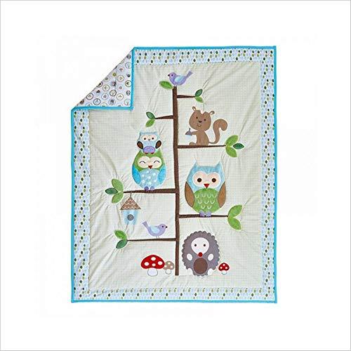 WINLIFE Crib Bedding Set for Girls & Boys Crib Quilts 33''x42'' Baby Quit (Owl)