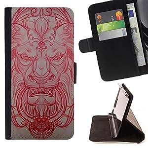 BullDog Case - FOR/Apple Iphone 5 / 5S / - / lion medieval architecture carving red /- Monedero de cuero de la PU Llevar cubierta de la caja con el ID Credit Card Slots Flip funda de cuer