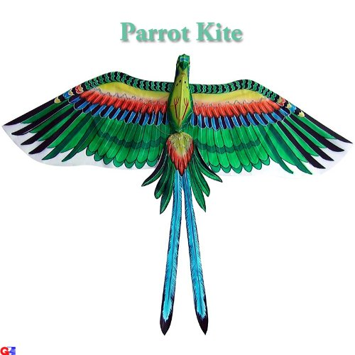 Large Green Parrot Kite - Chinese Hand-Crafted Silk Kites - Large Green Parrot