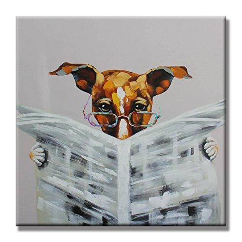 SEVEN WALL ARTS - 100% Hand Painted Oil Painting Animal Cute Dog with Stretched Frame (32 x 32 Inch, Dog Reading Newspapers) (Reading Oil Painting)