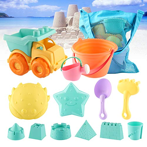MIFXIN Beach Sand Toys Set for Kids Toddlers 14Pcs Beach Toy Set with Truck Bucket Watering Can Shovels Rakes Sand Castle Molds Mesh Bag Soft Plastic