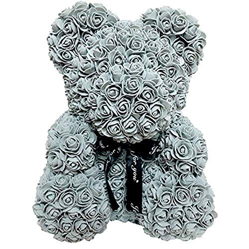 Homentum Rose Bear Teddy Forever Artificial Flowers are The Best Gifts for Valentine's Day,Anniversaries, Birthdays, Weddings(Grey, ()