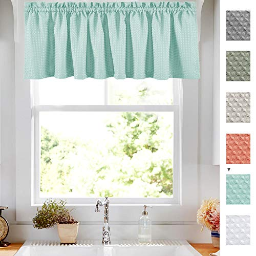 Lazzzy Light Teal Aqua Waffle Weave Textured Valance for Bathroom Water Repellent Window Covering for Kitchen 1 Panel 60