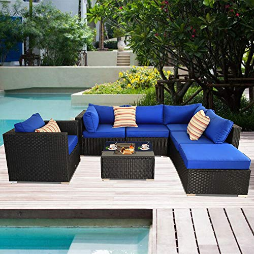 Patio Sectional Sofa Outdoor Black Rattan Couch Set Wicker 7PCS Sectional Conversation Sofa Set Lawn Garden Patio Furniture Set with Royal Blue Cushion