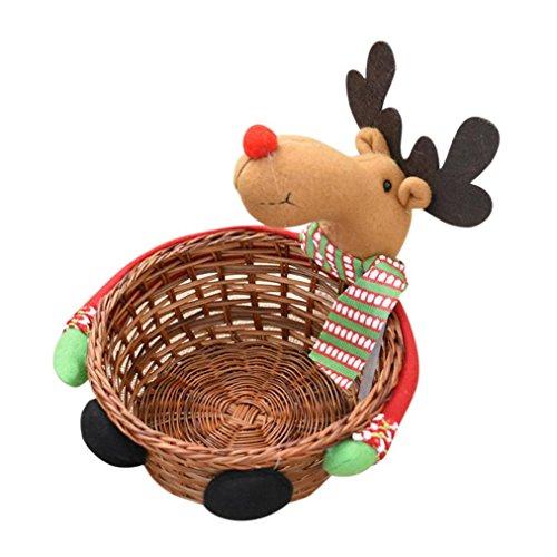 Oksale® Christmas Bamboo Weave Candy Basket Storage Basket Gift Christmas Decoration (S, C)