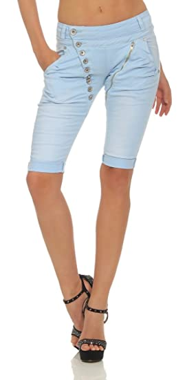 Fashion4Young 11509 Mozzaar Damen Jeans Bermuda Hose Boyfriend Denim Shorts Slimline Knopfleiste Zipper Slim Fit
