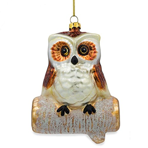 BestPysanky Wise Owl Sitting on a Branch Glass Christmas Ornament