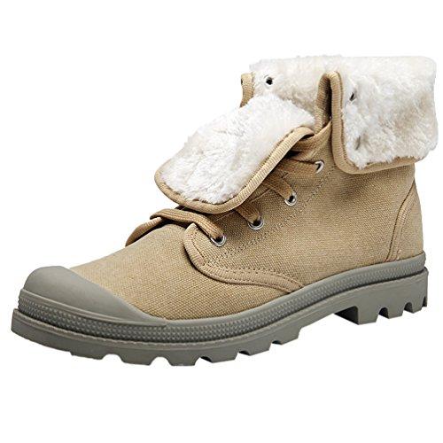 YiJee Unisex Freizeit Schuhe Flache Stiefel Verdickung Warm Schneestiefel Hell Gelb1