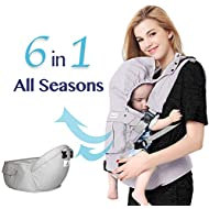Bonne Vie Baby Ergonomic Carrier with Hip Seat for Toddler & Infants - Organic Cotton Backpack Sling - 6-in-1 All Seasons - Perfect for Nursing, Hiking & Travel - Adjustable XS to XL (Pearl Gray)