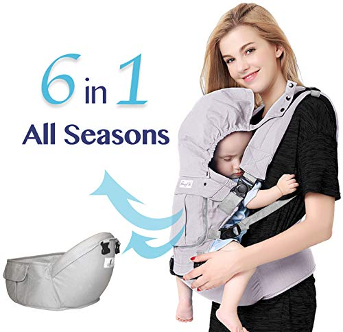 Cheap Bonne Vie Baby Ergonomic Carrier with Hip Seat for Toddler & Infants – Organic Cotton Backpack Sling – 6-in-1 All Seasons – Perfect for Nursing, Hiking & Travel – Adjustable XS to XL (Pearl Gray)