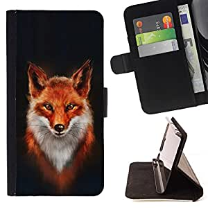For HTC Desire 820 Fox White Orange Red Art Portrait Painting Style PU Leather Case Wallet Flip Stand Flap Closure Cover