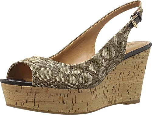 COACH Womens Ferry KhakiChestnut Wedge