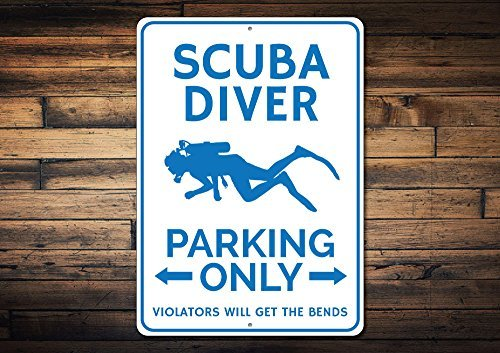 Scuba Diver Parking Sign, Scuba Decor, Scuba Diver Gift, Gift for Scuba Lover, Scuba Diving Aluminum Quality Metal Signs 12 X 18 Inch Large - Diving Sign