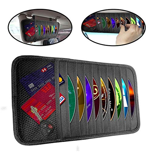 lebogner Car Sun Visor CD Holder and Vehicle Organizer, Auto Interior Accessories 10 Pocket CD, DVDs Storage Case, Registration, Document and Ticket Holder, Personal Belonging Storage Pouch Organizer