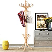 Wood Standing Hat Coat Rack w/ Umbrella Stand - Oak