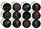 "Game of Thrones HOUSES Party Favors Supplies Decorations Collectible Metal Pinback Buttons, Large 2.25"" -12 pcs"