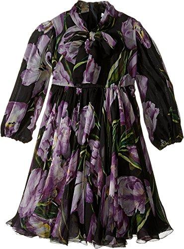 Dolce & Gabbana Kids Girls' City Tulip Chiffon Dress (Little Kids), Black Print, 2T Toddler (Dress Little Dolce Gabbana & Black)