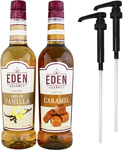 Eden Gourmet – French Vanilla & Caramel Naturally Flavored Syrup 750ml bottles – Set of 2 – Pumps included