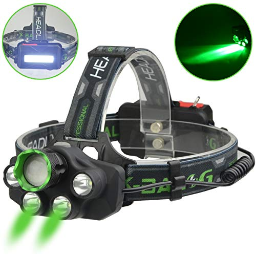 X-BALOG LED Headlamp with Green Light- Green Coyote Hog Hunting