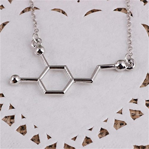 Haluoo DNA Necklace, Personalized Sterling Silver Plated Dopamine Molecule Pendant Necklace Long Sweater Chain Necklace for Chemistry Teacher Students Doctors Professor (Silver)