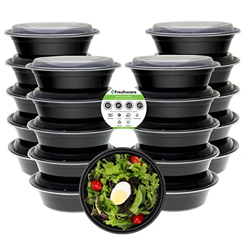 Freshware Meal Prep Containers [21 Pack] Bowls with Lids, Food Storage Bento Box | BPA Free | Stackable | Lunch Boxes, Microwave/Dishwasher/Freezer Safe, Portion Control, 21 Day Fix (28 oz) by Freshware