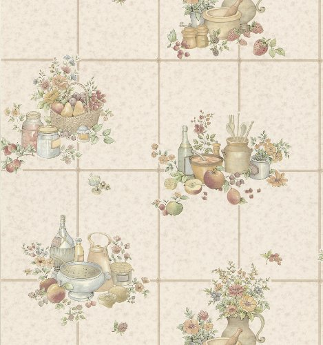 Brewster 402-11543 Kitchen & Bath Resource Volume II Wallpaper, 21-Inch x 396-Inch, Pastels