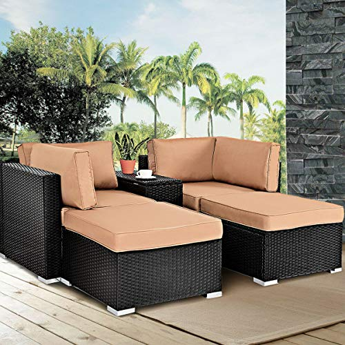 Daybed Wicker - Tangkula 5PCS Outdoor Wicker Chair Lounge Set Sectional Rattan Daybed Funiture Ottoman