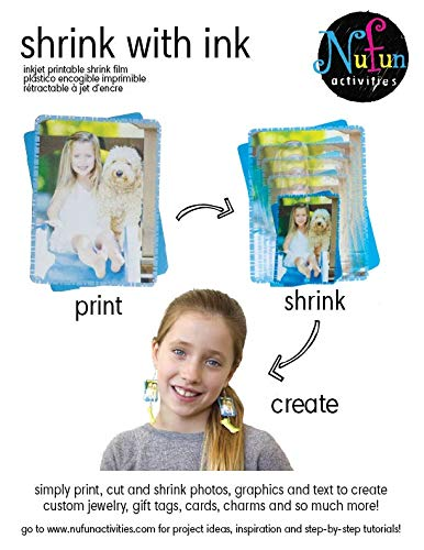 (NuFun Activities Inkjet Printable Shrink with Ink, Shrink Film, 8.5 x 11 inch Sheets (50 Sheets))