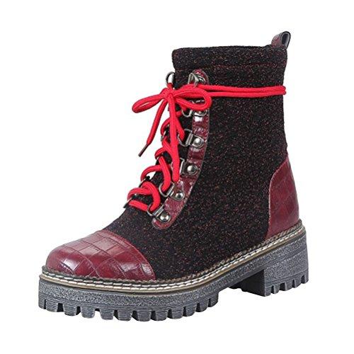 Form mit Schnürschuh Womens Blockabsatz Retro Agodor warme Schuhe und niedrigem Plattform runde q8tddF
