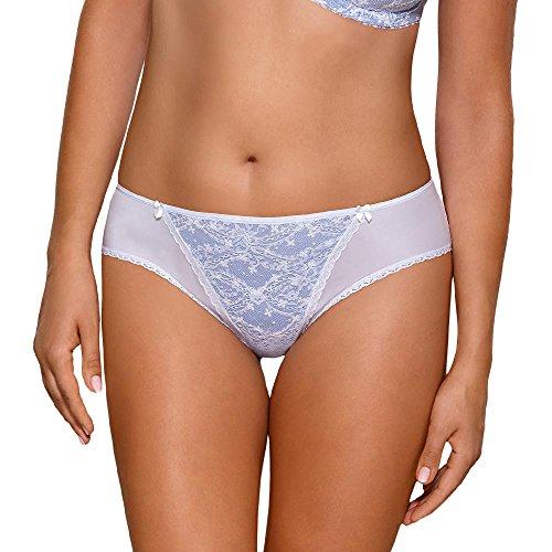 Ava 1524/S Tanga De Malla Y Encaje Estampado Para Mujeres Cintura Regular - Hecho En La UE azul claro-blanco