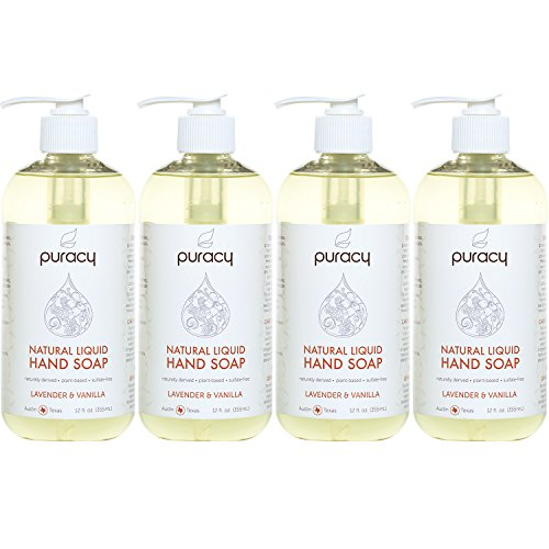 Puracy Natural Liquid Hand Soap, Sulfate-Free Gel Hand Wash, Lavender & Vanilla, 12 Ounce (4-Pack) ()