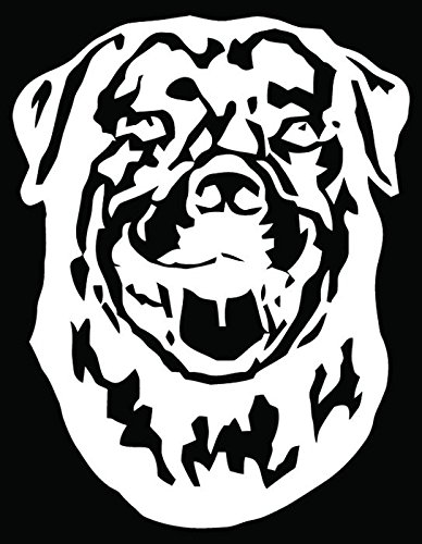Rottweiler Dog Pet Head Car Truck Window Bumper Vinyl Graphic Decal Sticker- (10 inch) / (25 cm) Tall GLOSS WHITE Color