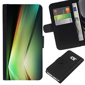 KLONGSHOP // Tirón de la caja Cartera de cuero con ranuras para tarjetas - Planta vibrante Negro Formas Naturaleza - Samsung Galaxy S6 EDGE //