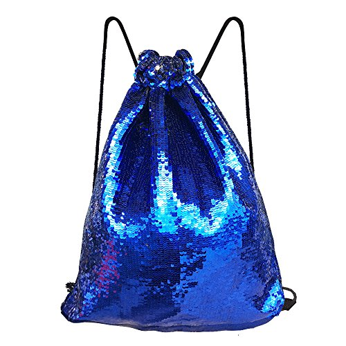Alritz Mermaid Sequin Drawstring Bags, Reversible Flip Sequins Backpacks Magic Tote Glittering Shoulder Bags for Girls Kids Women