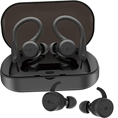 efb6fb0fe6e Wireless Headphones Bluetooth Earbuds with Double Earhooks for Sport V5.0  IPX7 Waterproof in ear