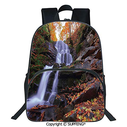 SCOXIXI Laptop Backpack Mountain Waterfall Autumnal Forest Fallen Leaves Moss Cascade Serene View (15.75